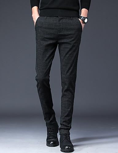 abordables Ropa de Hombre-Hombre Chic de Calle Diario Chinos Pantalones - Un Color Azul Piscina Negro Gris 33 28 34