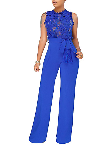 cheap Women's Jumpsuits & Rompers-Women's Daily / Going out Basic / Street chic Blue Black Wine Wide Leg Jumpsuit, Solid Colored Lace Trims M L XL High Waist Sleeveless Summer