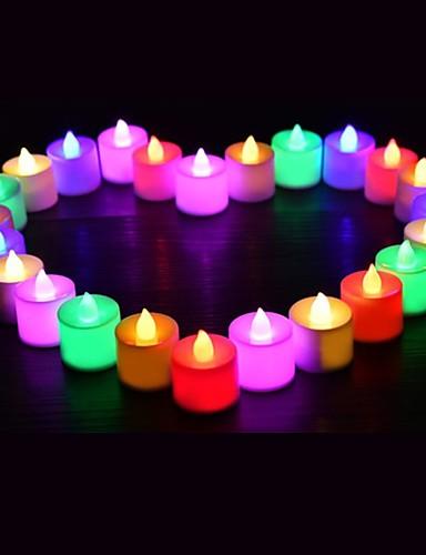 billige Holiday Decoration Light-24pcs ledet lys multicolor lampe simulering farge flamme te lys hjem bryllup bursdagsfest dekorasjon dropshipping