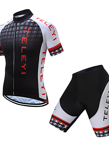 cheap Cycling Clothing-TELEYI Men's Short Sleeve Cycling Jersey with Shorts - Black / White Plaid / Checkered Bike Clothing Suit Breathable Quick Dry Sports Polyester Plaid / Checkered Mountain Bike MTB Road Bike Cycling