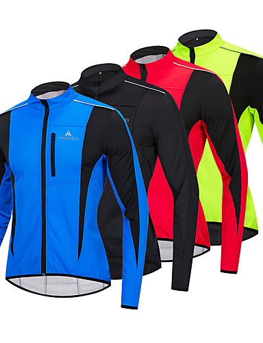 cheap Cycling Clothing-WEST BIKING® Men's Cycling Jacket Bike Winter Fleece Jacket Top Thermal / Warm Windproof Fleece Lining Sports Fleece Winter Red / Blue / Light Green Mountain Bike MTB Road Bike Cycling Clothing