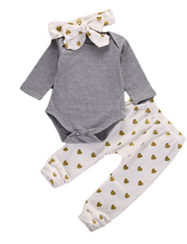 Dijete Djevojčice Osnovni Dnevno Jednobojni Dugih rukava Regularna Pamuk Komplet odjeće Sive boje / Dijete koje je tek prohodalo