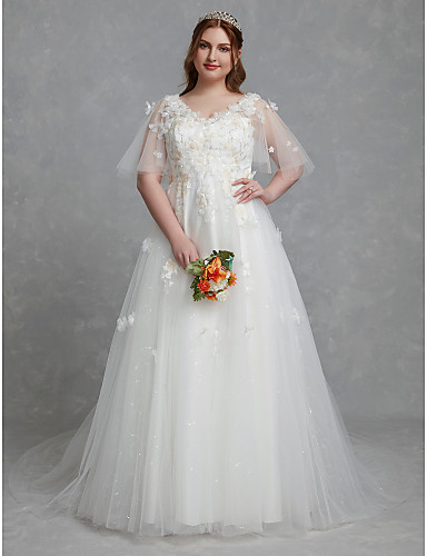 cheap Reception Dresses-Plus Size A-Line V Neck Court Train Lace / Tulle Made-To-Measure Wedding Dresses with Lace Insert by LAN TING BRIDE® / Beautiful Back