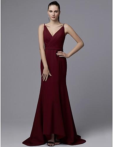 ef71d2c8bc0b Τρομπέτα   Γοργόνα Λαιμόκοψη V Ουρά Ζέρσεϊ Όμορφη Πλάτη Επίσημο Βραδινό  Φόρεμα με Ζώνη   Κορδέλα   Πιασίματα με TS Couture®