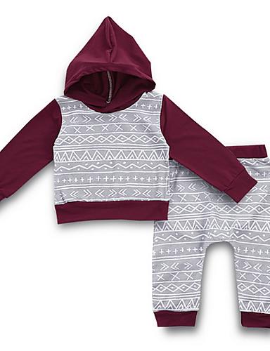 Baby Gutt Gatemote Daglig Trykt mønster Langermet Normal Polyester Tøysett Grå