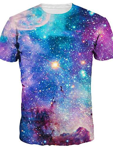 voordelige Heren T-shirts & tanktops-Heren Standaard / overdreven Print T-shirt Heelal / 3D Ronde hals Paars / Korte mouw / Zomer