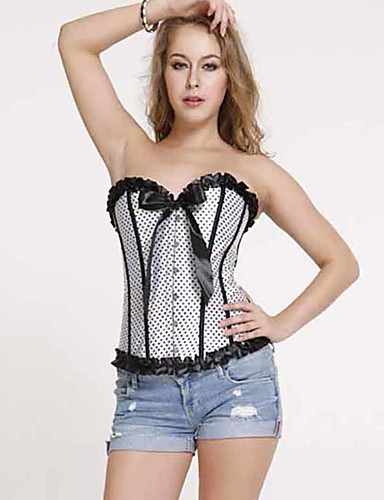 abordables Corsets-Normal Polyester Corset Sexy Points Polka Mariage Boucle Métalique Corset
