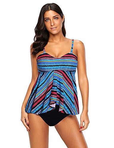 f5f14bc968f Women s Basic Strap Blue Rainbow Cheeky Tankini Swimwear - Striped XL XXL  XXXL Blue   Sexy