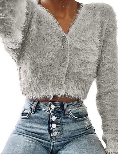 billige Dametopper-Skinny Dyp V T-skjorte Dame - Ensfarget, Strikket Grunnleggende Dusty Rose Sølv XL / Vår / Høst / Vinter