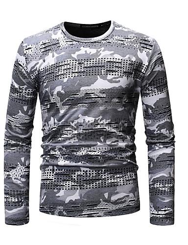 2fa8220a806a Ανδρικά T-shirt Βασικό Γεωμετρικό   καμουφλάζ Στρογγυλή Λαιμόκοψη Σκούρο  γκρι L   Μακρυμάνικο