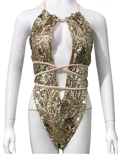billige Bikinier og damemote-Dame Grunnleggende Rosa Gul Fuksia Cheeky En del Badetøy - Ensfarget Paljetter M L XL