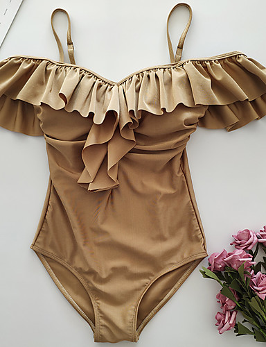 billige Bikinier og damemote-Dame Grunnleggende Gull Cheeky Høy Midje En del Badetøy - Ensfarget Åpen rygg / Drapering M L XL