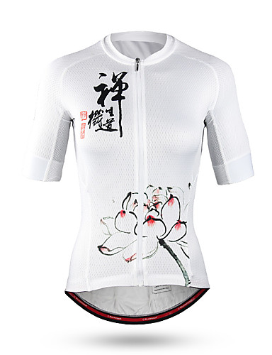 cheap Cycling Clothing-Mountainpeak Women's Short Sleeve Cycling Jersey - White Floral / Botanical Bike Jersey Breathable Quick Dry Sports Coolmax® Terylene Mountain Bike MTB Road Bike Cycling Clothing Apparel / Stretchy