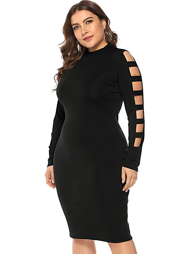 fc572d8b137 Women s Daily Basic Slim Bodycon Sheath Dress - Solid Colored Cut Out High  Waist Black Wine XXL XXXL XXXXL   Sexy