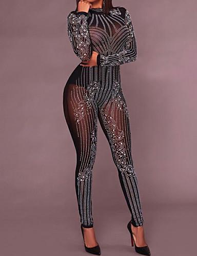 voordelige Shall We®-Exotische Dancewear Strass bodysuit / Nachtclub jumpsuits / Club kostuum Dames Opleiding / Prestatie Polyester Kristallen / Bergkristallen Lange mouw Hoog Gympak / Onesie