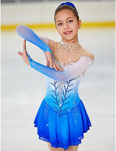 abordables Robe de Patinage-Robe de Patinage Artistique Femme Fille Patinage Robes Bleu Pâle Teinture Halo Spandex Haute élasticité Compétition Tenue de Patinage Fait à la main A Bijoux Strass Manches Longues Patinage sur glace