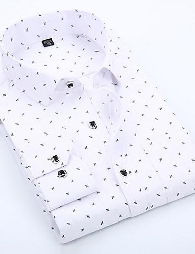voordelige Herenoverhemden-Heren Zakelijk / Standaard Print Overhemd Katoen, Werk Polka dot / Geometrisch Spread boord Slank blauw / Lange mouw / Lente / Herfst