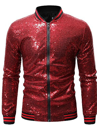 cheap 2/21-Men's Daily Basic Spring & Summer / Fall & Winter Regular Jacket, Sequin Stand Long Sleeve Polyester Silver / Wine / Royal Blue L / XL / XXL