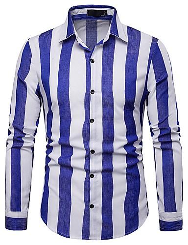 Tynn Skjorte Herre - Stripet Blå L / Langermet