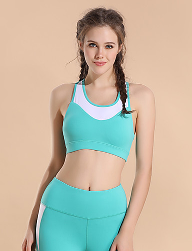 5a86a16bdd Racerback Sports Bra Bra Top Padded High Support for Yoga Running Gym  Workout Black Yellow Green Breathable High Impact Quick Dry Women s Color  Block ...