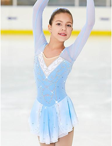 Robe de Patinage Artistique Femme Fille Patinage Robes Bleu / blanc Spandex Haute élasticité Compétition Tenue de Patinage Fait à la main Classique Mode Patinage sur glace Patinage Artistique