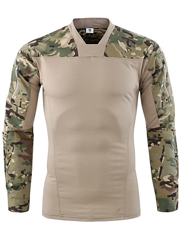 7504eafe Esdy Men's Camo Hiking Tee shirt Long Sleeve Outdoor Fast Dry Breathability  Wearable Sweat-Wicking Tee / T-shirt Autumn / Fall Spring Cotton Blend Grey  ...