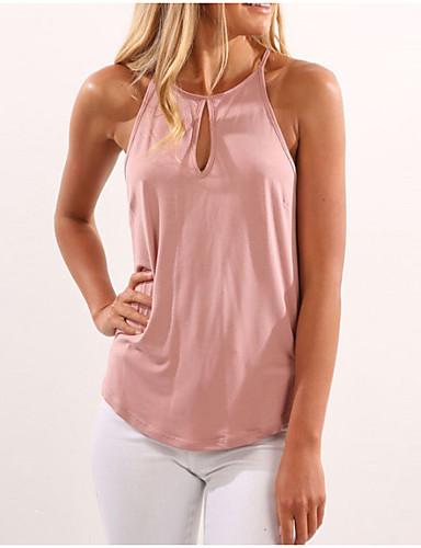 billige Topper til damer-Grime T-skjorte Dame - Ensfarget, Hull / Med stropper Grunnleggende Dusty Rose Svart L / Sommer