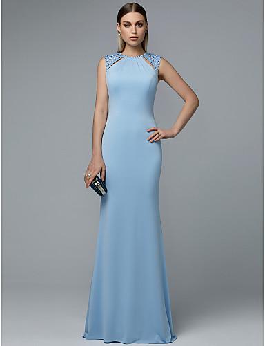 Kroj uz tijelo Ovalni izrez Do poda Šifon Prom Haljina s Perlica po TS Couture®
