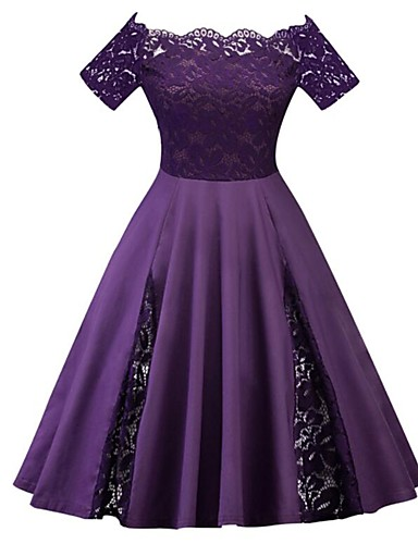 cheap Women's Plus Size Dresses-Women's Plus Size Party Vintage 1950s A Line Dress - Solid Colored Lace Off Shoulder Spring Purple Wine Royal Blue XXXL XXXXL XXXXXL / Sexy