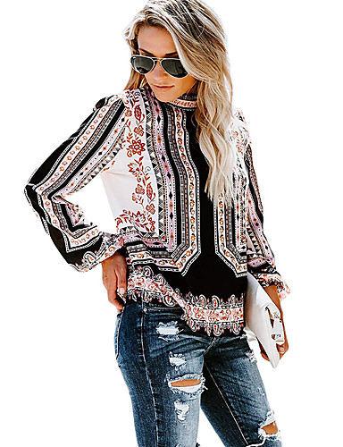 billige Topper til damer-Skinny Rullekrage Skjorte Dame - Geometrisk, Trykt mønster Bohem Rød L
