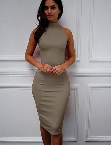 voordelige Grote maten jurken-Dames Slank Recht Jurk - Effen, Sexy Slank Midi