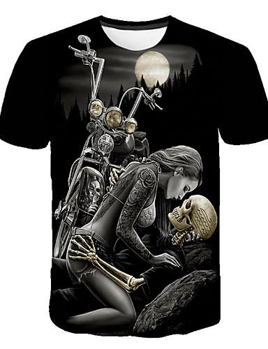 cheap Men's Tees & Tank Tops-Men's Basic / Street chic T-shirt - Color Block / 3D / Skull Print