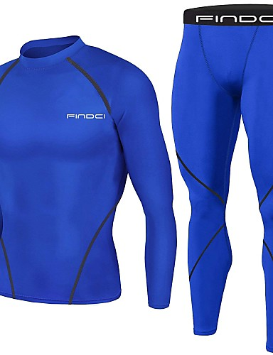 cheap New Arrivals-FINDCI Men's Compression Suit Royal Blue Burgundy Dark Navy Sports Fashion Base layer Compression Shirt and Pants Active Training Running Gym Workout Long Sleeve Activewear Lightweight Breathable