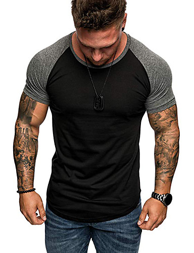 Rund hals Herre - Ensfarvet EU / US størrelse T-shirt Sort XL