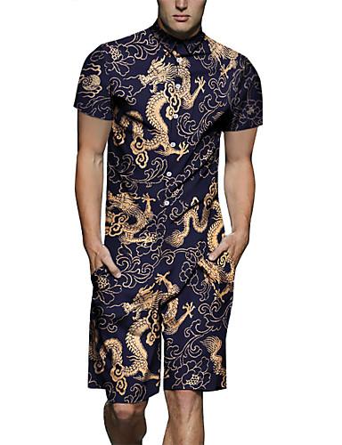 XL XXL XXXL טלאים / דפוס קולור בלוק / חיה, Rompers ישר כחול נייבי בסיסי / סגנון סיני בגדי ריקוד גברים