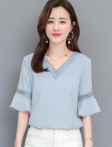 abordables Hauts pour Femme-Tee-shirt Femme, Couleur Pleine Découpé / A Volants Basique Bleu clair