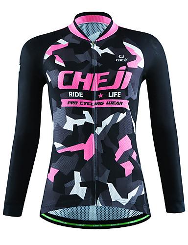 cheap Cycling Clothing-cheji® Women's Long Sleeve Cycling Jersey - Pink Dark Pink Blue+Yellow Bike Jersey Top Breathable Sports Other Lycra Mountain Bike MTB Road Bike Cycling Clothing Apparel