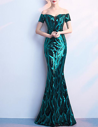 cheap Evening Dresses-Mermaid / Trumpet Off Shoulder Floor Length Sequined Sparkle & Shine / Color Block Formal Evening Dress with Sequin / Crystals / Embroidery by LAN TING Express