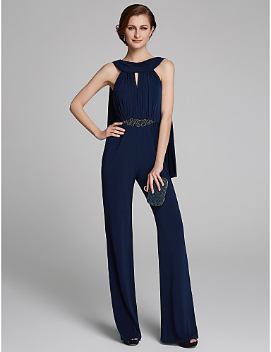 443d1535935 In Stock Ship In 24 Hours Pantsuit   Jumpsuit Cowl Neck Floor Length Jersey  Mother of the Bride Dress with Beading   Ruching by LAN TING BRIDE®