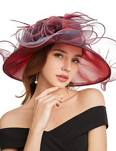 abordables Chapeau & coiffure-Organza Kentucky Derby Hat / Fascinators / Coiffe avec Fleur / Etagée 1 Pièce Fête / Soirée / Business / Cérémonie / Mariage Casque