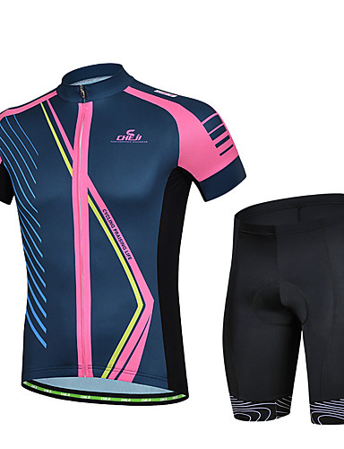 cheap Cycling Clothing-cheji® Men's Short Sleeve Cycling Jersey with Shorts - Blue+Pink Bike Clothing Suit Quick Dry Sports Lycra Solid Colored Mountain Bike MTB Road Bike Cycling Clothing Apparel