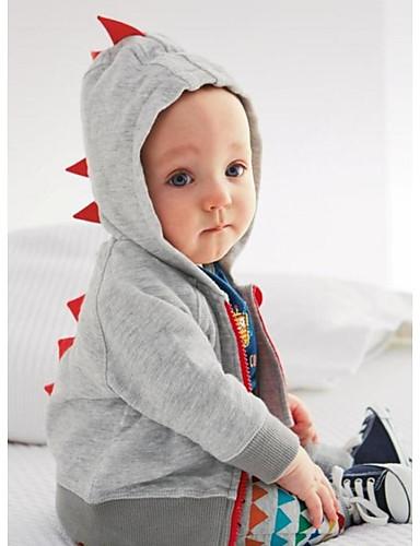 Μωρό Αγορίστικα Βασικό Καθημερινά Συνδυασμός Χρωμάτων Μακρυμάνικο Κανονικό Βαμβάκι Επένδυση με Πούπουλα & Βαμβάκι Σκούρο γκρι