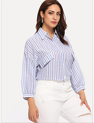 Apprensivo Camicia Per Donna A Strisce Girocollo Blu Xxl - Largo #07139087 Sangue Nutriente E Regolazione Dello Spirito