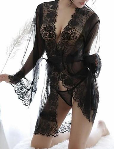 Damen Super Sexy Dessous / Roben / Anzüge Nachtwäsche - Spitze / Gitter, Alltagskleidung Solide / Tiefes V