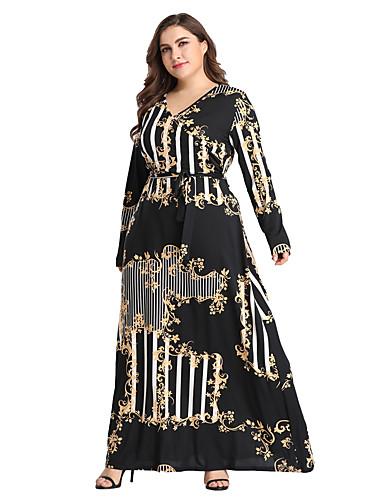 cheap Women's Plus Size Dresses-Women's Daily Weekend Boho Maxi Skinny Swing Dress Print High Waist V Neck Spring Black XL XXL XXXL