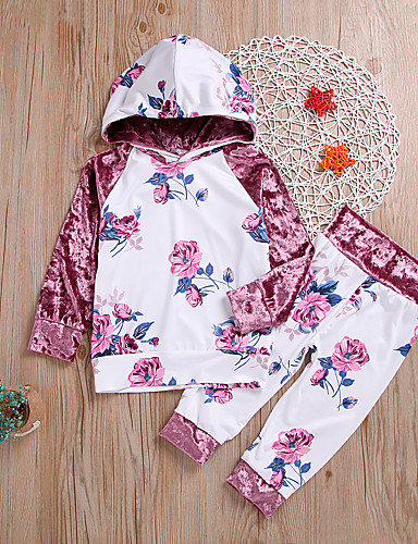 סט של בגדים שרוול ארוך פרחוני בנות ילדים / פעוטות