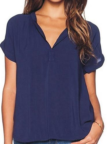 billige Dametopper-V-hals T-skjorte Dame - Ensfarget Vin
