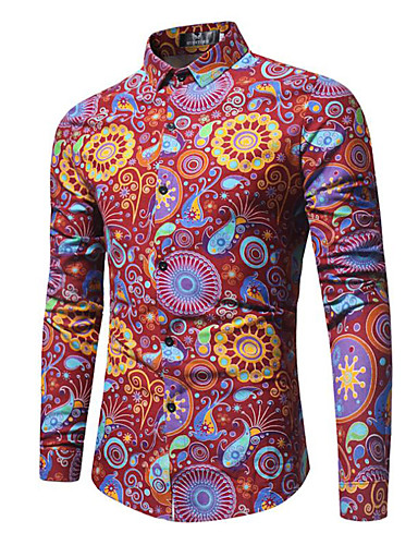 cheap Men's Shirts-Men's Going out Vintage / Boho Plus Size Cotton Shirt - Paisley Print Spread Collar Purple US38 / Long Sleeve