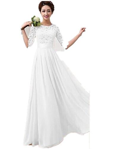 Γυναικεία Κομψό Δαντέλα Σιφόν Swing Φόρεμα - Μονόχρωμο, Δαντέλα Patchwork Μακρύ / Πάρτι