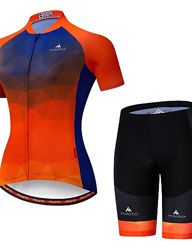 cheap Cycling Clothing-Miloto Women's Short Sleeve Cycling Jersey with Shorts - Luminous Bike Jersey Padded Shorts / Chamois Clothing Suit Breathable Reflective Strips Sports Lycra Multi Color Clothing Apparel / Stretchy
